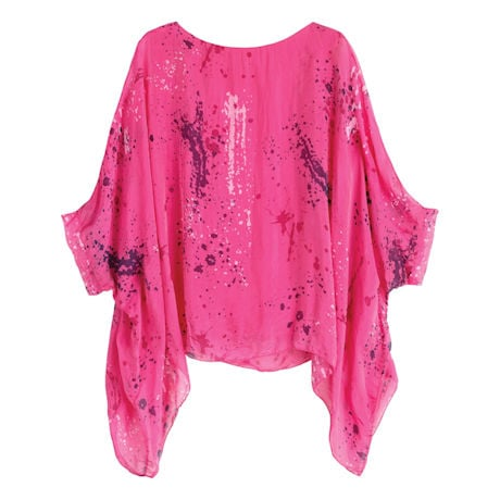 Splattered Pink Silk Popover
