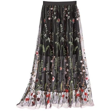 Wildflowers Embroidered Mesh Skirt