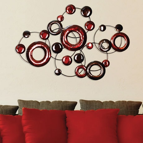 Red Metallic Circles Wall Décor