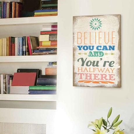 Believe Typography Burlap Wall Décor