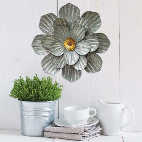 Galvanized Flower Wall Décor