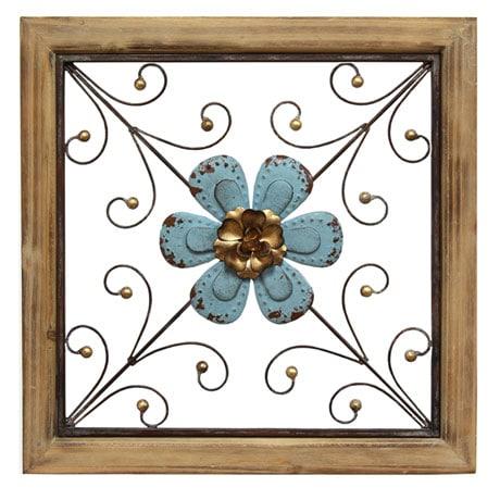 Floral Square Wall Décor - Blue