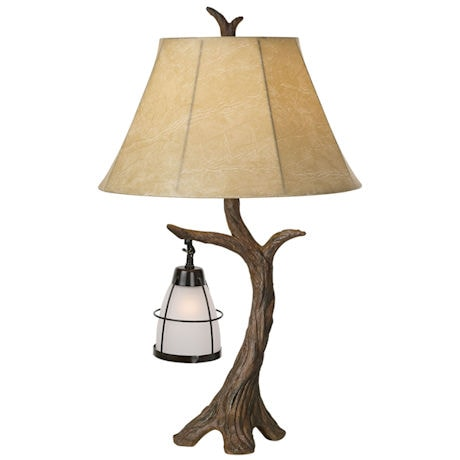 Aged Oak Lantern Table Lamp with nightlight