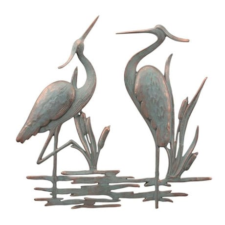 Double Garden Heron Wall Plaque