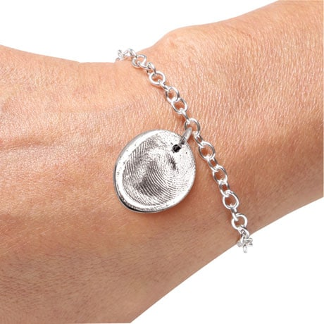 Sterling Silver Personalized Fingerprint Bracelet