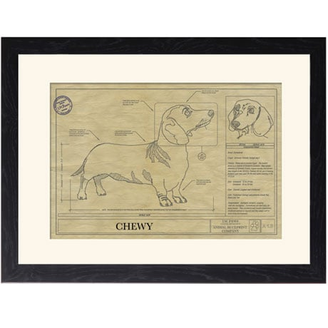 Personalized Framed Dog Breed Architectural Renderings - Dachshund