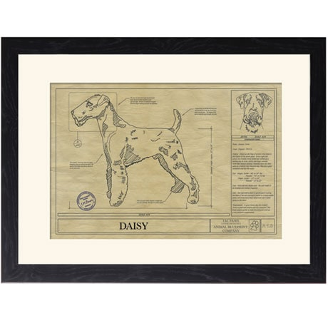 Personalized Framed Dog Breed Architectural Renderings - Airedale Terrier