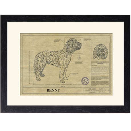 Personalized Framed Dog Breed Architectural Renderings - Labradoodle