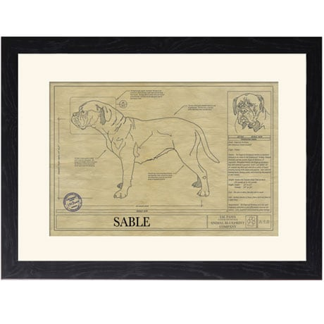 Personalized Framed Dog Breed Architectural Renderings - French Mastiff
