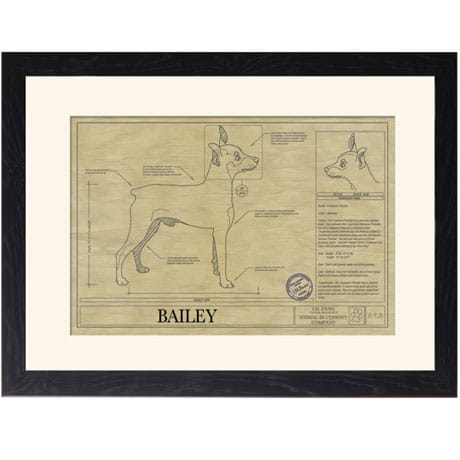 Personalized Framed Dog Breed Architectural Renderings - Miniature Pinscher