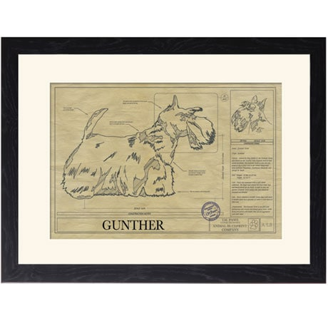 Personalized Framed Dog Breed Architectural Renderings - Scottish Terrier