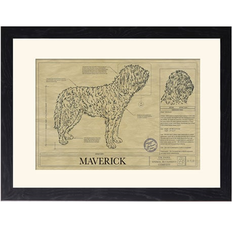 Personalized Framed Dog Breed Architectural Renderings -Otterhound
