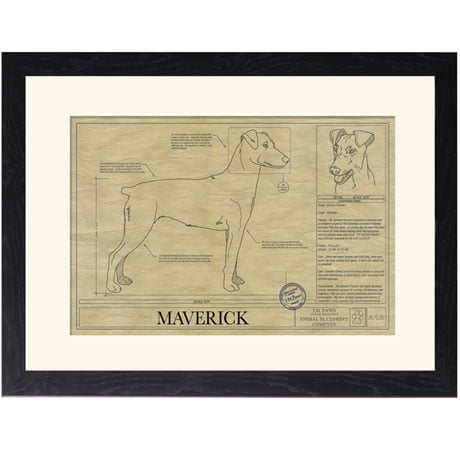 Personalized Framed Dog Breed Architectural Renderings -German Pinscher