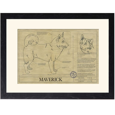 Personalized Framed Dog Breed Architectural Renderings -Icelandic Sheepdog