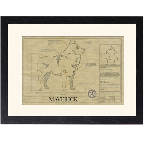 Personalized Framed Dog Breed Architectural Renderings -Schipperke