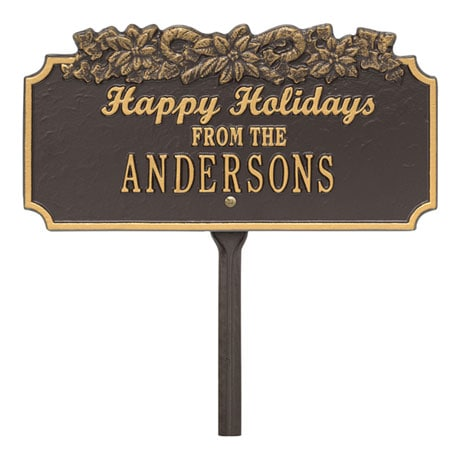 Personalized 'Happy Holidays' Candy Cane Lawn Plaque