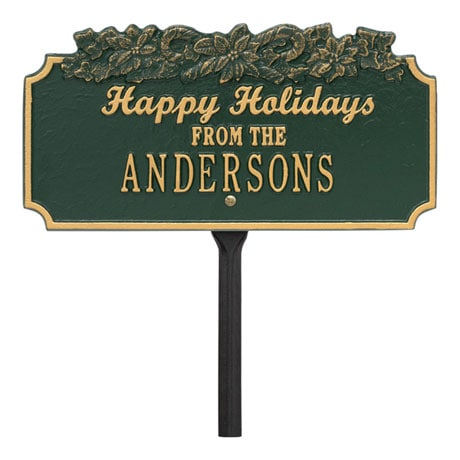 "Personalized ""Happy Holidays"" Candy Cane Lawn Plaque"