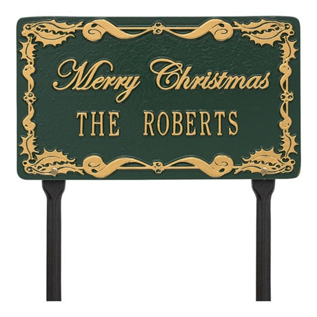 "Personalized ""Merry Christmas"" Lawn Plaque"