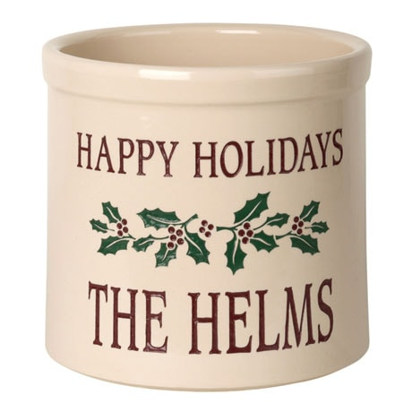 Personalized Holly Leaves Crock