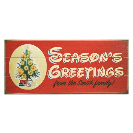 "Personalized ""Season's Greetings"" Christmas Tree Wood Wall Art"