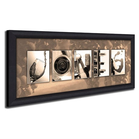 Personalized Wine Letters Framed Canvas