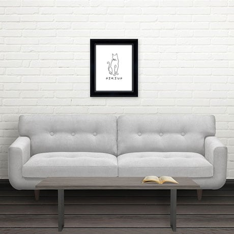 Personalized Framed Cat Line Drawing