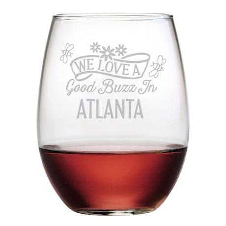 Personalized 'We Love a Good Buzz' Stemless Wine Glasses - Set of 4