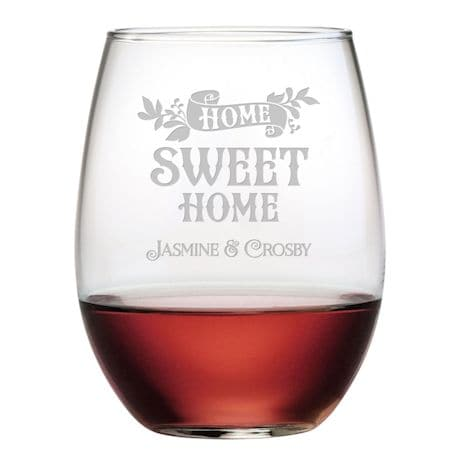 "Personalized ""Home Sweet Home"" Stemless Wine Glasses - Set of 4"