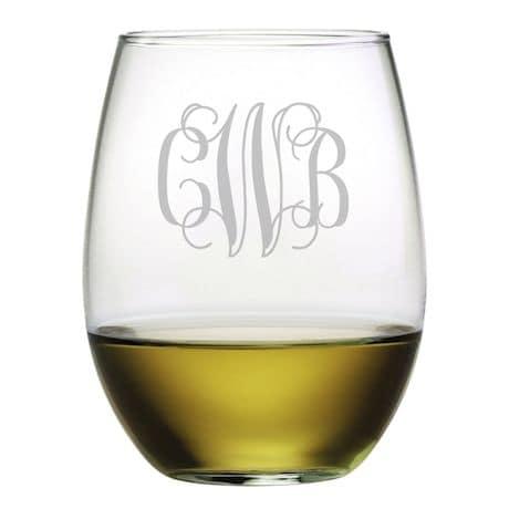 Personalized Monogram Stemless Wine Glasses - Set of 4