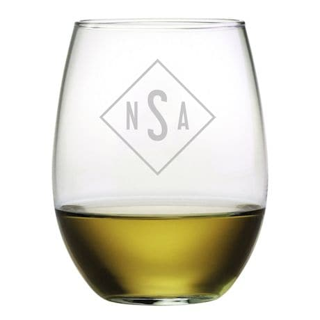 Personalized Monogram Stemless Wine Glasses - Set of 4