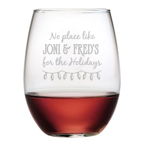 """Personalized """"Home for the Holidays"""" Stemless Wine Glasses - Set of 4"""