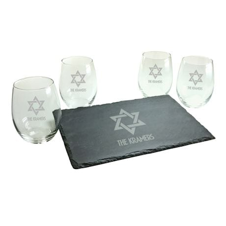 Personalized Star of David Stemless Wine Glasses and Slate Cheese Board Set