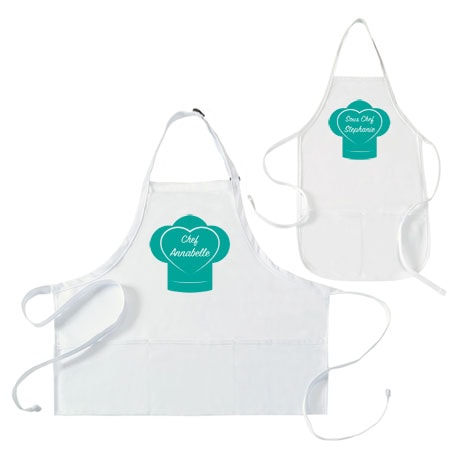 "Personalized ""Chef"" and ""Sous Chef"" Mommy and Me Apron Set"