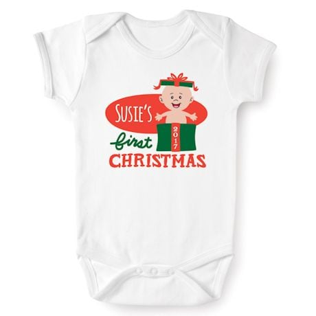 Personalized Baby's First Christmas 2017 Snapsuit