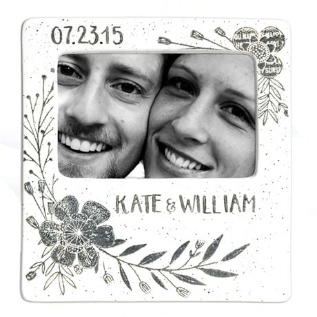 Handmade Ceramic Floral Couple Photo Frame - 7 ½ x 8