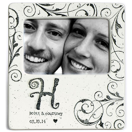 Handmade Ceramic Monogram Couple Photo Frame