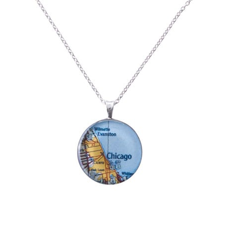 "Custom Map 1"" Pendant Necklace"