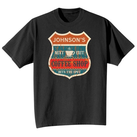 "Personalized ""Your Name"" Vintage Coffee Shop Tee"