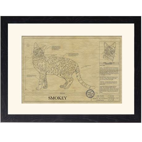 Personalized Framed Cat Breed Architectural Renderings - Bengal