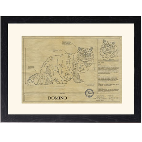 Personalized Framed Cat Breed Architectural Renderings - Persian