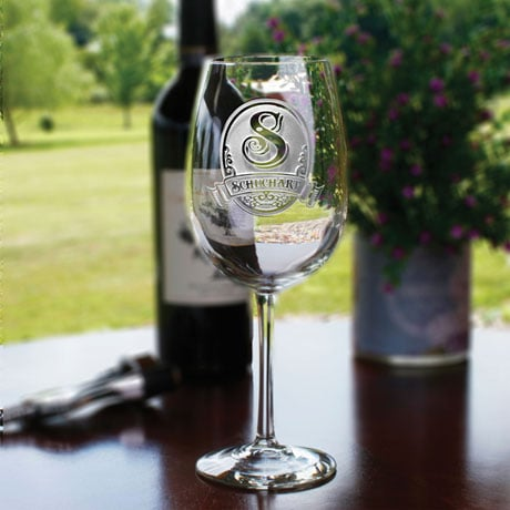 Personalized Initial Wine Glasses - Set of 2