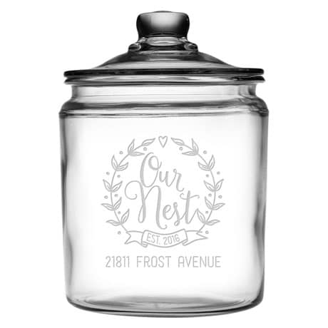 "Personalized ""Our Nest"" Glass Cookie Jar"