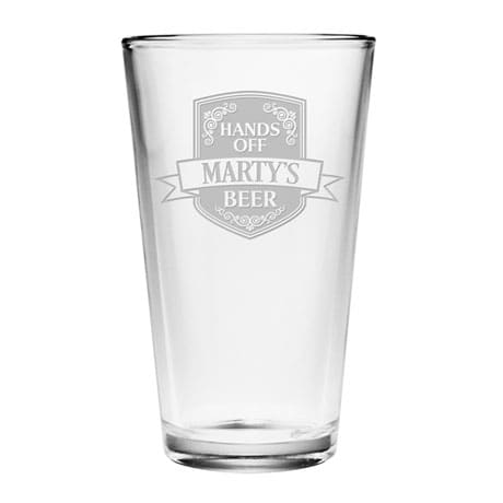 Personalized Hands Off Single Pint Glass