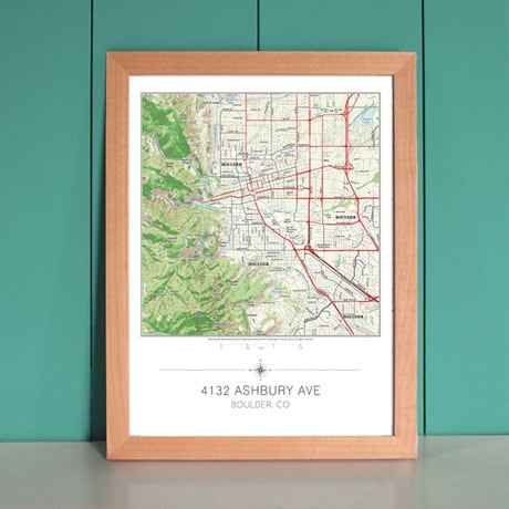 Personalized My Home in the Center Framed Map Print