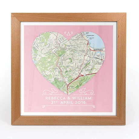 Personalized Single Heart Framed Map Print