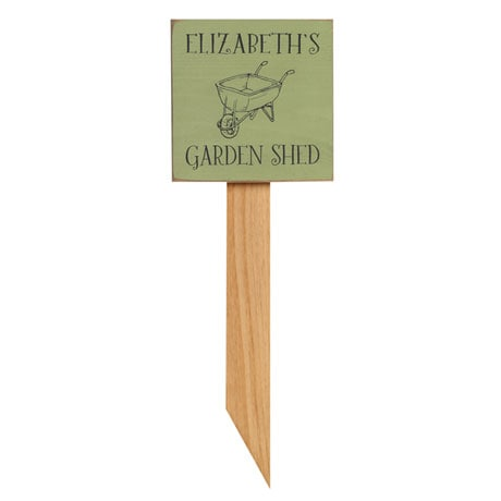 Personalized Garden Wheelbarrow Sign with Stake