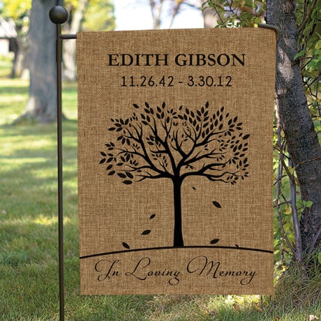 Personalized In Loving Memory Burlap Garden Flag