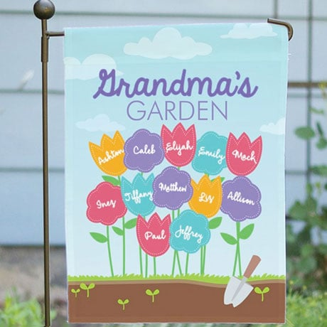 Personalized Favorite Flowers Garden Flag with Flag Pole