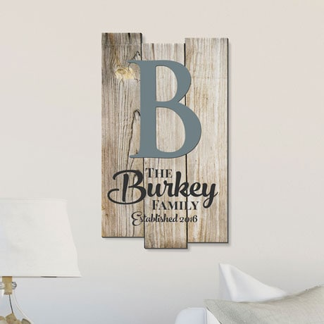 Personalized Rustic Plank-Shaped Wood Wall Art