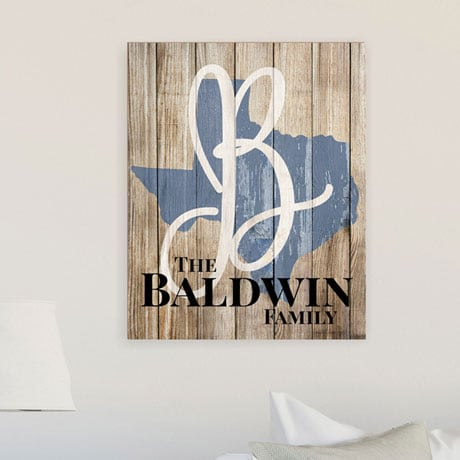 Personalized State Shape Wood Wall Art